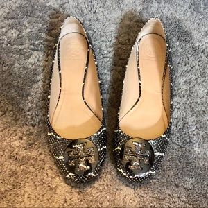 🎉EUC Tory Burch Snake Leather Minnie Flats 9.5🎉